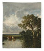The Pond With Oaks Fleece Blanket