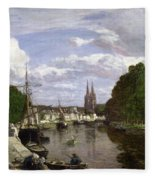 The Port At Quimper Fleece Blanket