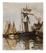 The Port Of Honfleur Fleece Blanket