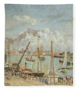 The Port Of Le Havre In The Afternoon Sun Fleece Blanket