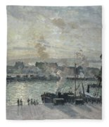 The Port Of Rouen Fleece Blanket