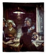 The Potato Eaters, By Vincent Van Gogh, 1885, Kroller-muller Mus Fleece Blanket