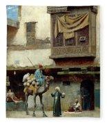 The Pottery Seller In Old City Fleece Blanket