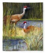 The Protector - Sandhill Cranes Fleece Blanket