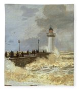 The Quay At Le Havre Fleece Blanket