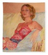 The Queen At Her Ease Fleece Blanket