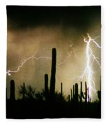 The Quiet Southwest Desert Lightning Storm Fleece Blanket