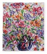 The Rainbow Flowers Fleece Blanket