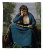 The Reader Crowned With Flowers Fleece Blanket