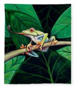 The Red Eyed Tree Frog Fleece Blanket