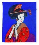 The Red Geisha Fleece Blanket