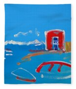 The Red House  La Casa Roja Fleece Blanket