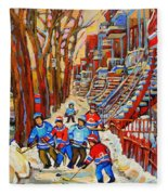 The Red Staircase Painting By Montreal Streetscene Artist Carole Spandau Fleece Blanket