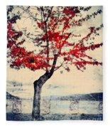 The Red Tree At Okanagan Lake Fleece Blanket
