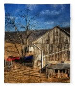 The Red Truck By The Barn Fleece Blanket