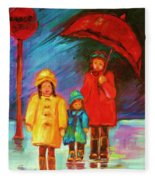 The Red Umbrella Fleece Blanket