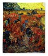 The Red Vineyard At Arles Fleece Blanket