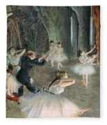 The Rehearsal Of The Ballet On Stage Fleece Blanket by Edgar Degas