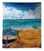 The Resting Boat And The Beach Holidays Fleece Blanket