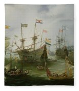 The Return To Amsterdam Of The Second Expedition To The East Indies Fleece Blanket