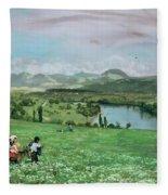 The Rhine Near Sakingen Fleece Blanket