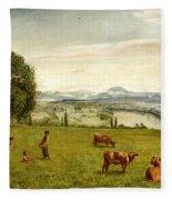 The Rhine Valley Near Sackingen Fleece Blanket