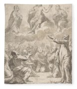 The Risen Christ Between The Virgin And St. Joseph Appearing To St. Peter And Other Apostles Fleece Blanket