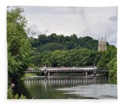 The River And Bridges At Burton On Trent Fleece Blanket