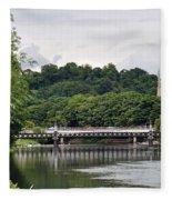The River And Bridges At Burton On Trent Fleece Blanket