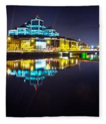The River Liffey Night Romance 2 Fleece Blanket