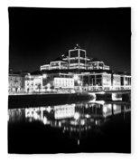 The River Liffey Reflections 2 Bw Fleece Blanket