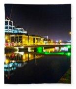 The River Liffey Reflections 3 Fleece Blanket
