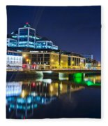 The River Liffey Reflections 4 Fleece Blanket
