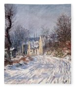 The Road To Giverny In Winter Fleece Blanket