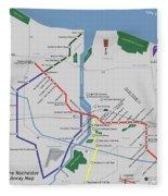 The Rochester Pubway Map Fleece Blanket