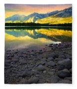 The Rockies Reflected At Lake Annettee Fleece Blanket