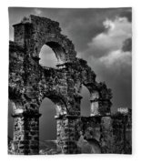 The Roman Aqueduct At Aspendos, Turkey.    Black And White Fleece Blanket