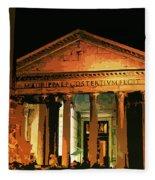 The Roman Pantheon At Night Fleece Blanket