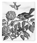 The Roses And The Sparrow Fleece Blanket