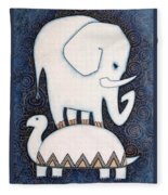 An Elephant On A Turtle Fleece Blanket