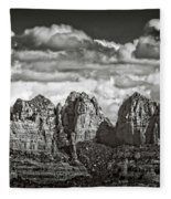 The Rugged Red Rocks In Black And White  Fleece Blanket
