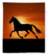 The Running Horse Background Fleece Blanket