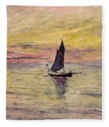 The Sailing Boat Evening Effect Fleece Blanket