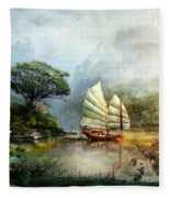 Sailing Boat In The Lake Fleece Blanket