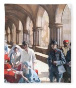 The Scottish Women's Hospital - In The Cloister Of The Abbaye At Royaumont. Fleece Blanket