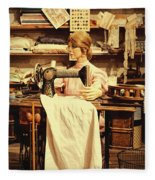 The Seamstress At Work Fleece Blanket