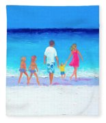 The Seaside Holiday - Beach Painting Fleece Blanket