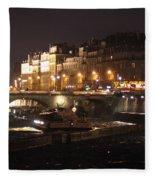 The Seine At Night Fleece Blanket