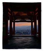 The Setting Sun And Kiyomizu-dera Fleece Blanket