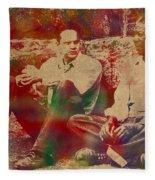 The Shawshank Redemption Movie Inspired Watercolor Portrait Of Tim Robbins And Morgan Freeman On Worn Distressed Canvas Fleece Blanket